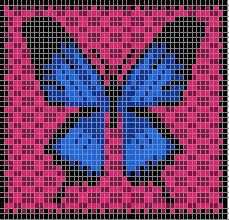 Free Ulysses Swallowtail Butterfly pattern chart. Suitable for Intarsia.