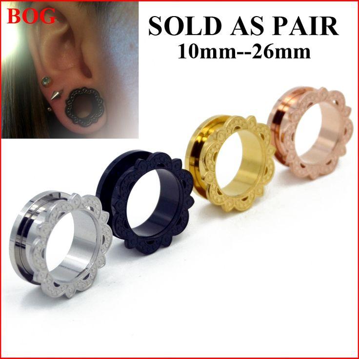 "1Pair Stainless Steel Lotus Flower  Screw Fit Ear Tunnel Plugs - 00G-1"" Ear Piercing Gauge Expander Taper Stretcher Body Jewelry"