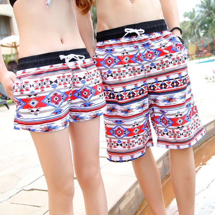 Couple Beach pants striped men's  beach pants quick-drying Beach Shorts