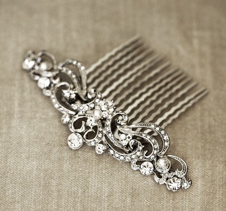 Art Nouveau Bridal Hair Comb | Wedding Headpiece | Crystal Rhinestone Hair Comb | Vintage Style Wedding Hair Piece by lolaandmadison on Etsy https://www.etsy.com/listing/221553781/art-nouveau-bridal-hair-comb-wedding