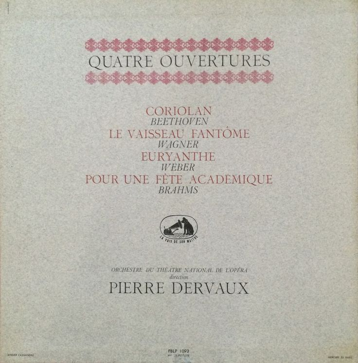 QUATRE OUVERTURES - Pierre Dervaux