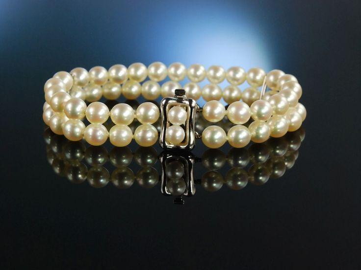 Pearl bracelet! Schimmernde Klassik, Akoya Zuchtperlen Armband mit feinem Lüster Gold 585 2reihig