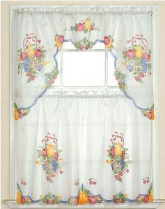 Fruit Basket Printed Kitchen Curtain Set 3pc By JS Home. $10.00. 2 Tiers  Each