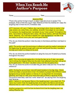 Classroom Freebies: When You Reach Me Author's Purpose Activity
