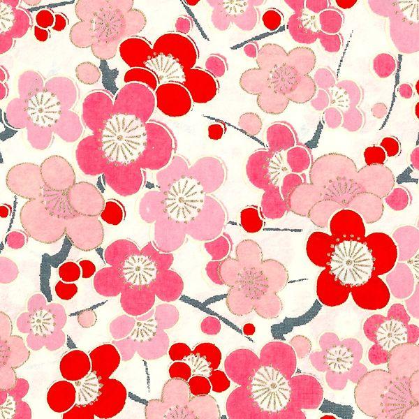 Papier Japonais / Sérigraphie fleurs rouges et roses sur fond blanc