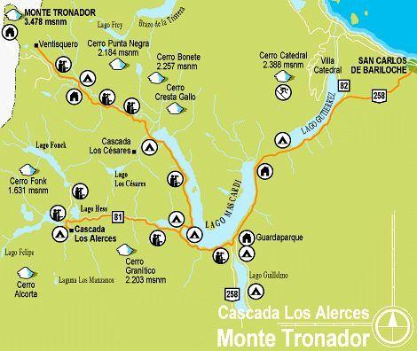 Paseos al cerro Tronador y cascada Los Alerces ver mapa