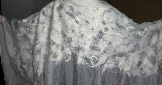 Bridal scarf shawl white silk and wool finely felted by coolfelt, $129.00