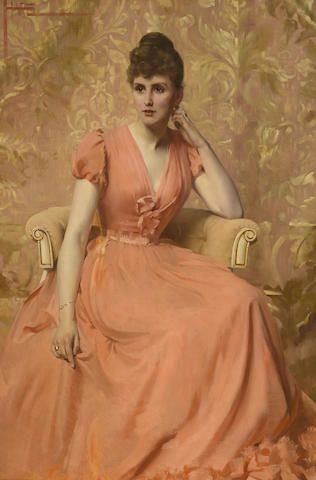 Julius Hare (British, 1859-1932) A portrait of a lady 60 x 40in (152.5 x 101.8cm)