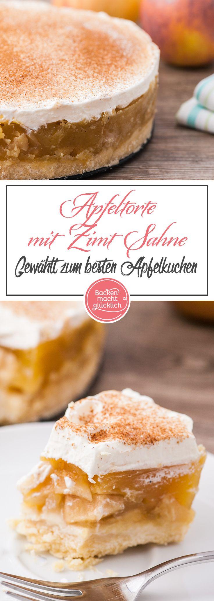 Diese Apfel-Sahne-Torte ist einer der allerbesten Apfelkuchen überhaupt: Auf den nur leicht süßen Mürbeteig folgen eine saftige, erfrischende Apfel-Pudding-Füllung und leckere Vanille-Zimt-Sahne. Die Apfeltorte kommt immer gut an!