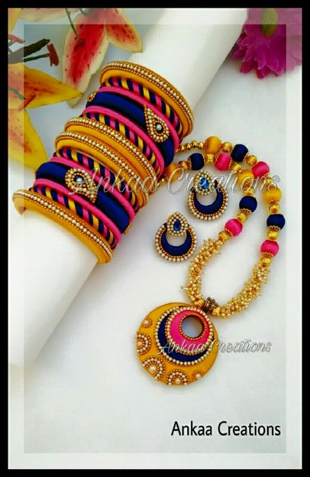 handmade silk thread chaandbali neckset in bright color combination , with chandbali earrings and marching bangles with mango motif work done.. customized for a beautiful customer :) please visit our page https://m.facebook.com/ankaa.creations for more collections and support us by giving likes..  Thank you :)
