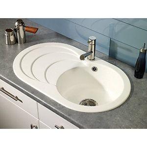 Wickes Asterite Oval Single Bowl Kitchen Sink White