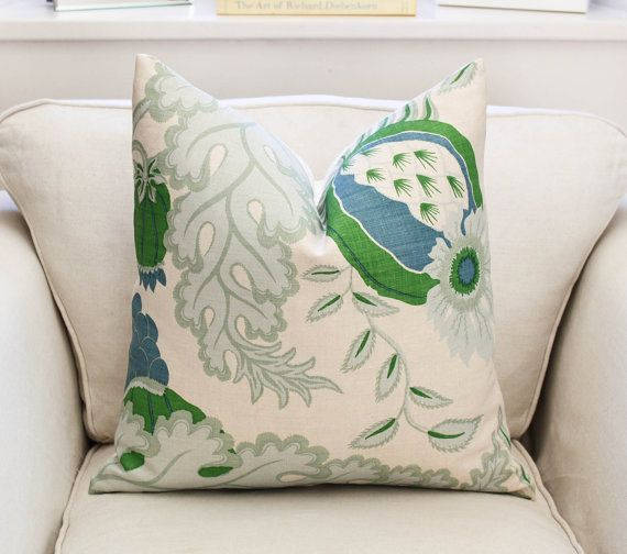 Carnival by Christopher Farr in Green  DESCRIPTION Front - Carnival by Christopher Farr 100% Linen Backing - Oatmeal Linen (matches background of Carnival) Available in various sizes, please see drop down menu for prices and sizes. This is for one pillow cover only, does not include insert.  DETAILS Finishing - Knife Edge Seam as shown, zipper closure, serge/overlocked inner seams Care - Dry clean only The position of the pattern may vary due to large pattern repeat.  SHIPPING We ship…