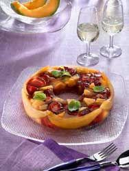 Aspic de fraises et de melons
