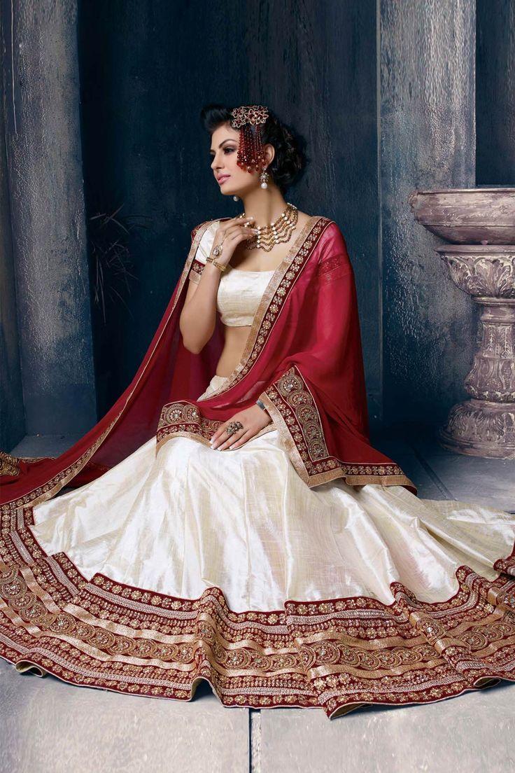 Off White Silk Wedding Lehenga Choli 63112