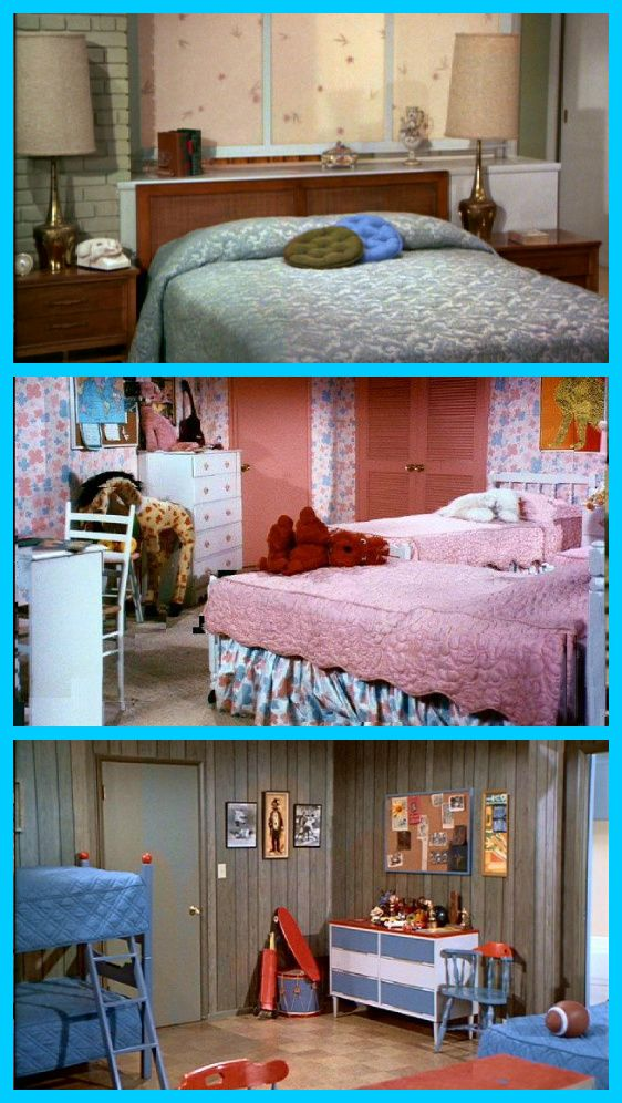 """The Brady Bunch bedrooms - who would've thunk that you could live in a house with only THREE bedrooms when you have SIX kids!!  Somehow the Brady's made it seem possible until of course Marcia and Greg hit their junior/senior years in high school and both felt they needed their """"privacy""""!  :)"""