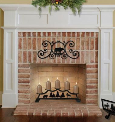 Fireplace Pillar Candles - great decoration for our non-working fireplace