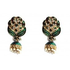 Green Ethnic Bollywood Earrings
