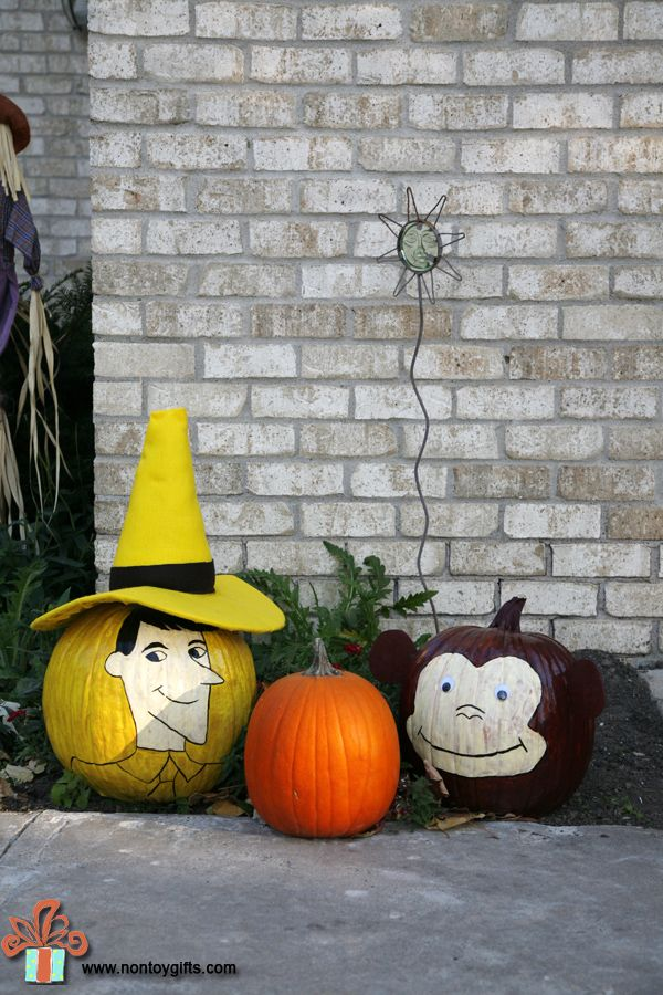 Halloween painted pumpkins - Curious George and the Man with the Yellow Hat - at Non Toy Gifts