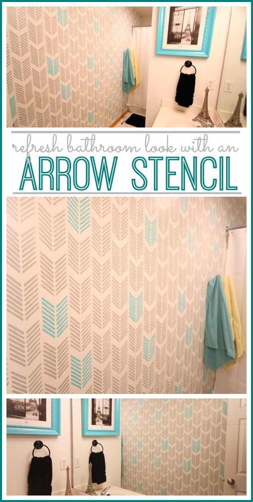 refresha bathroom look with this arrow stencil - i LOVE how this came out!! - - Sugar Bee Crafts