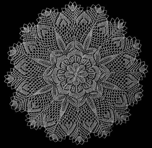 Knitted lace. URL not found, but gorgeous to look at here. =)