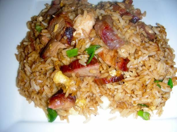 * * * I love this recipe - simple and delicious! I use peanut oil, add chopped broccoli, julienned carrots, a little garlic and extra scallions - could add snap peas too! Chopped Chinese bbq pork is delicious, but a hoisin sauce marinated/cooked porkchop works too!