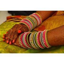 Bangle set made of silk thread-Bridal bangle set