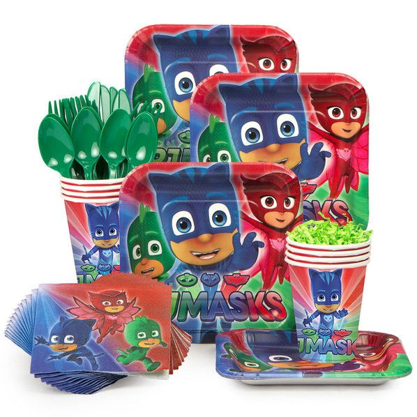 Host the ultimate pajama slumber party, with this adorable PJ Masks party package. It has everything you need to host a party for 8. The cake plates are just large enough for a piece of cake. If you n