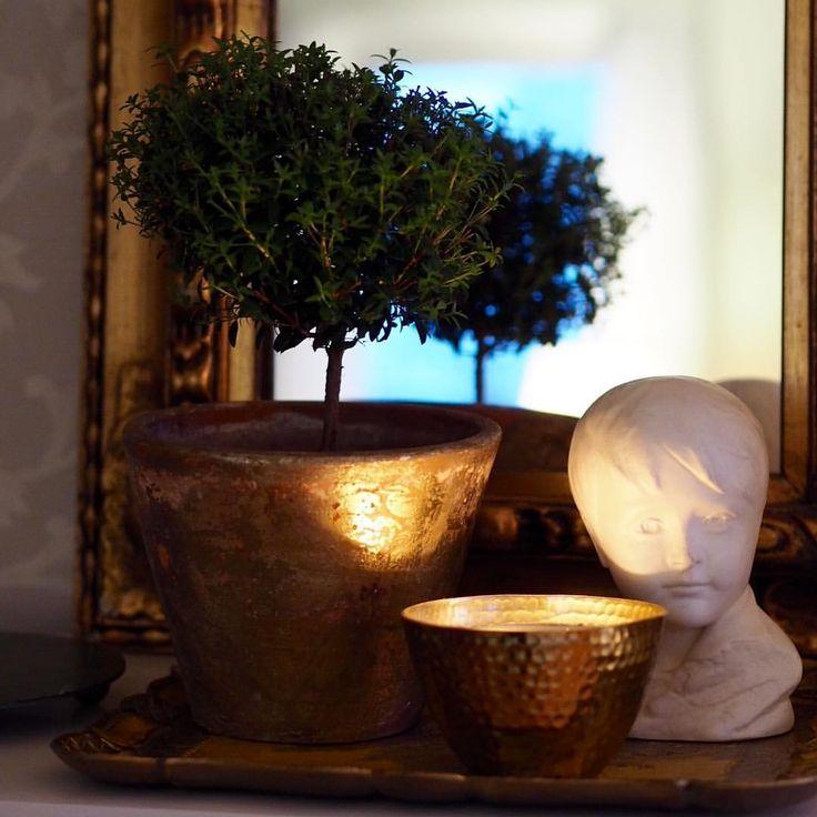 """Tarja Kankaanpää-Salonen (@keltainentalorannalla) on Instagram: """"Mukavaa iltaa😊#haveaniceevening #gold #decor #candle #instadaily #asetelma #koristeet"""""""