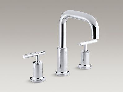KOHLER | K-T14428-4-CP | Purist® Deck-mount bath faucet trim for high-flow valve with lever handles, valve not included