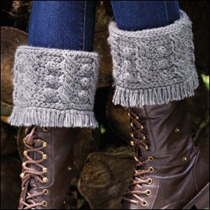 Crochet World: Featured pattern - Cabled Boot Toppers. Free crochet pattern by Cristin Berrafato.