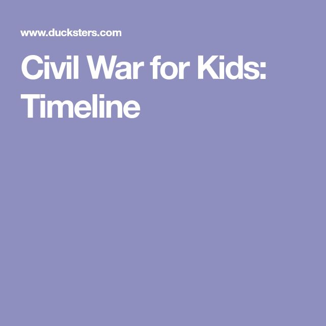 Civil War for Kids: Timeline