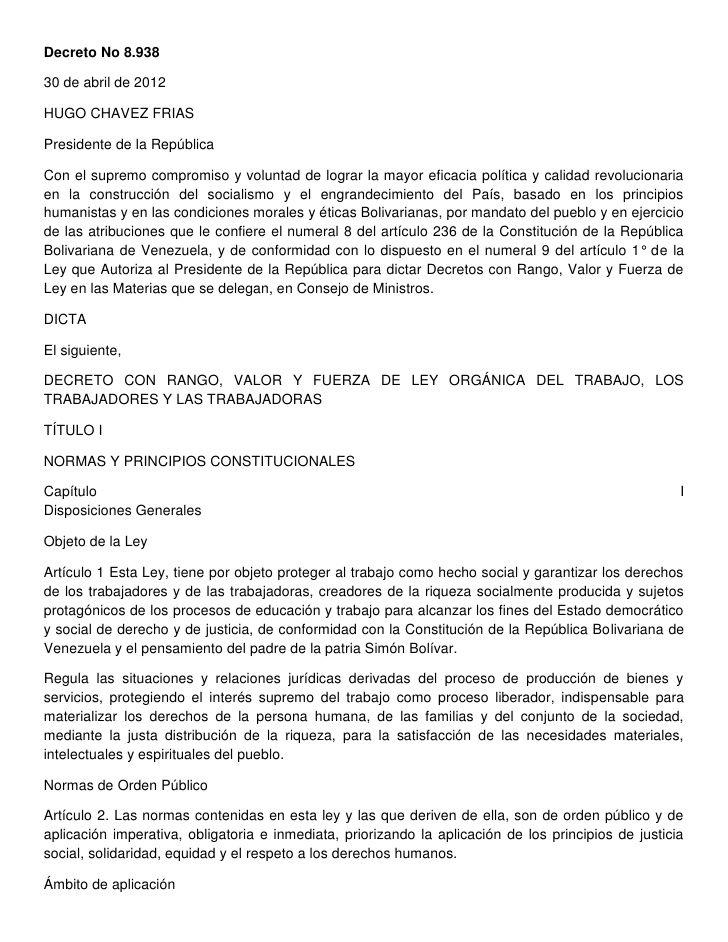 Ley organica del trabajo en venezuela 1 ro de mayo de 2012 by Rafael Martínez via slideshare
