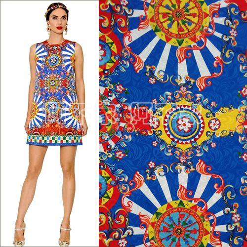 Новый Стиль Винтаж цифровой отпечатано жаккардовые ткани, дети или женщины бренд-шоу платье жаккардовые ткани, пошив одежды материал