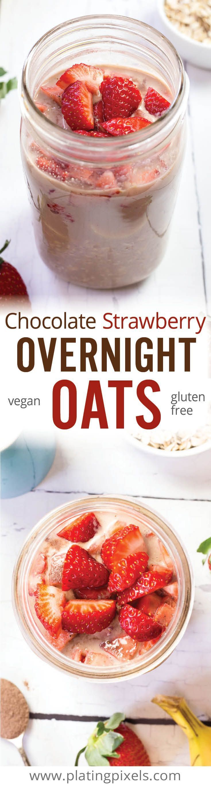 Delicious healthy vegan gluten free breakfast. Chocolate Strawberry Overnight Oats by Plating Pixels. Nutritious breakfast that tastes like dessert. Oats, almond milk, chocolate powder, peanut butter, strawberry, and banana. - www.platingpixels.com