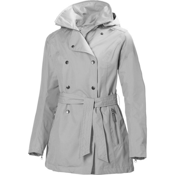 Helly Hansen Welsey Trench Coat ($200) ❤ liked on Polyvore featuring outerwear, coats, trench raincoat, grey coat, waterproof trench coat, double breasted coat and shiny raincoat