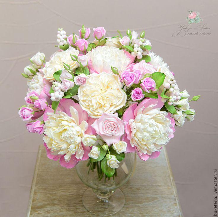 Купить Интерьерный букет с пышными пионами и розами из полимерной глины - бледно-розовый, букет невесты
