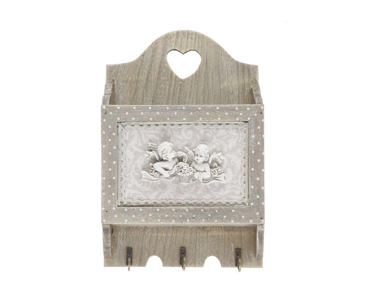 Ящик для писем с крючками для ключей - дерево - белый - Д28хШ18 | Westwing Интерьер & Дизайн