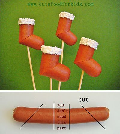 Turn your hot dogs into stockings.   41 Adorable Food Decorating Ideas For The Holidays