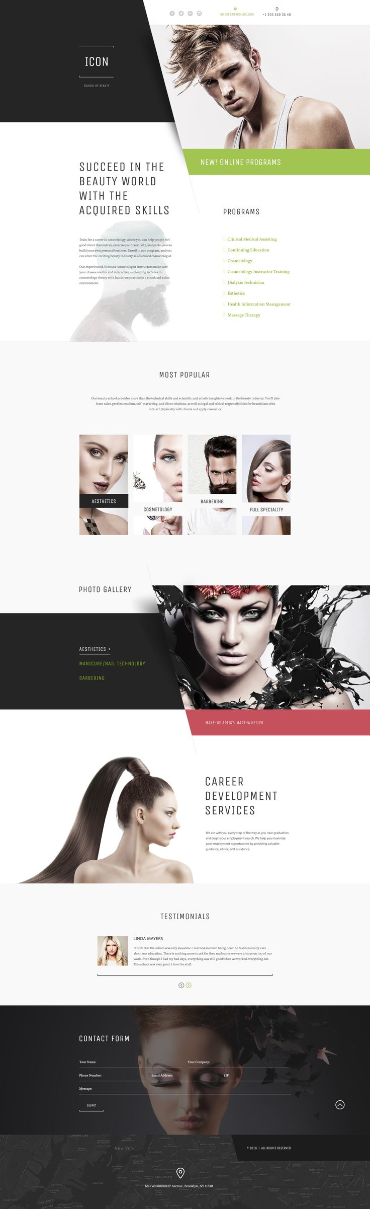 Beauty School Responsive Landing Page Template #58405 http://www.templatemonster.com/landing-page-template/beauty-school-responsive-landing-page-template-58405.html