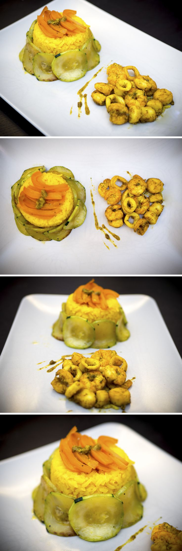 curcuma rice tower with zucchini walls topped with orange pepper along with seafood curry!!