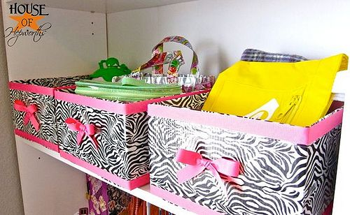 patterned duct tape over cardboard boxes for organization :) @Jess Pearl Pearl Liu Olson  now you have a great excuse to buy that crazy awesome duct tape you've been eyeing!!