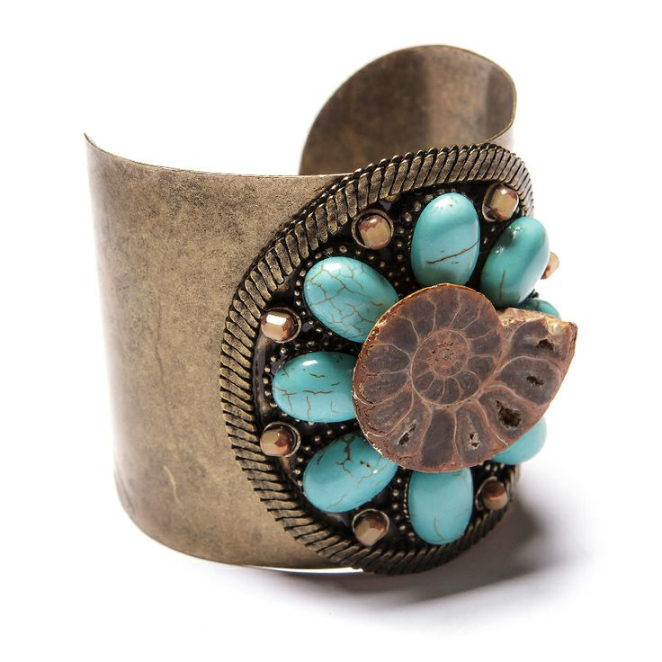 Bracelete ouro velho com cristais tchecos, turquesas e pedra amonita