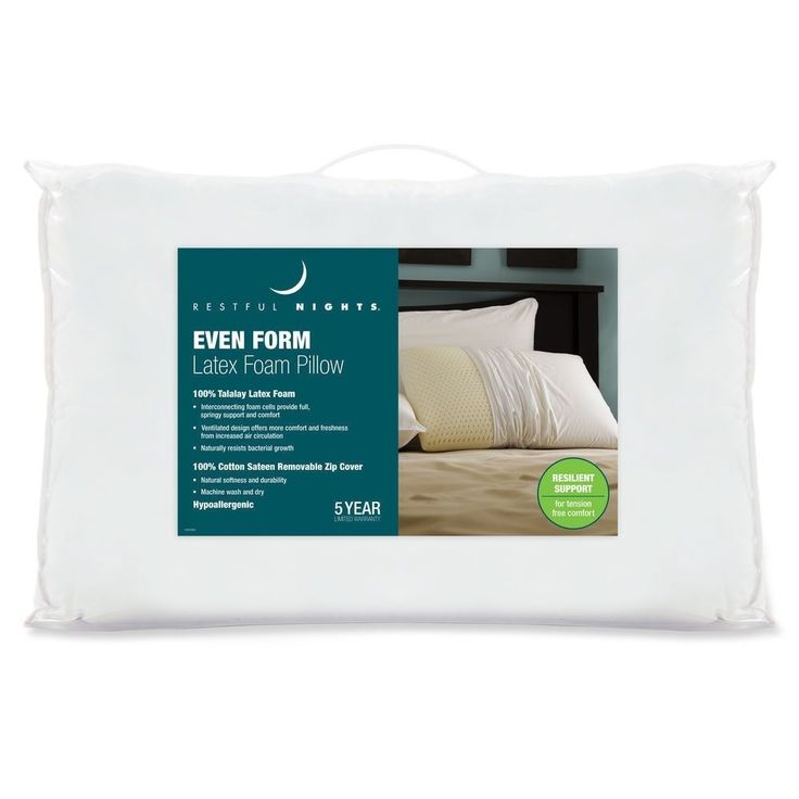 restful nights even form 100 talalay latex pillow u0026 removable cover