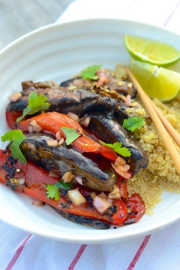 Eggplants, Peppers & Shiitakes with Soy Dressing   Camille Styles