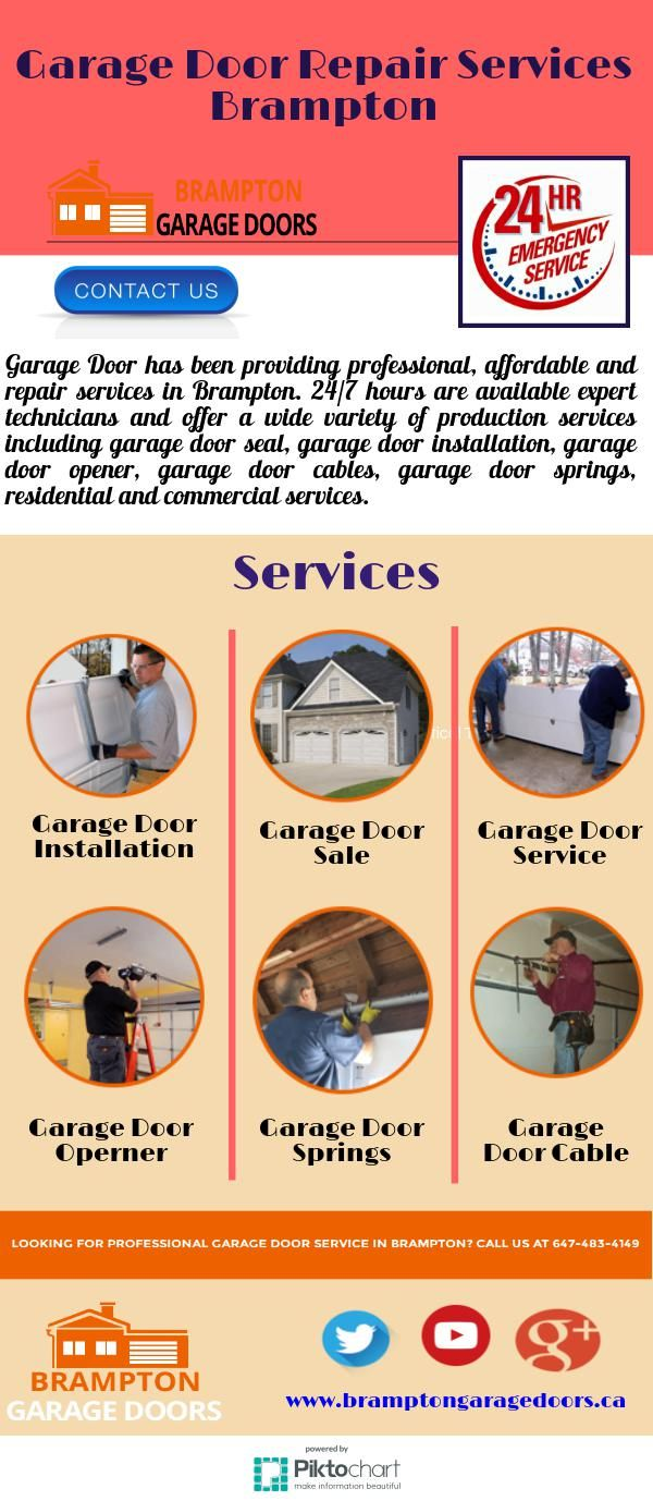 Garage Door has been providing professional, affordable and repair services in Brampton. 24/7 hours are available expert technicians and offer a wide variety of production services including garage door seal, garage door installation, garage door opener, garage door cables, garage door springs, residential and commercial services. If you're having a problem with your garage door, contact us (647) 483-4149 or visit our website www.bramptongaragedoors.ca.
