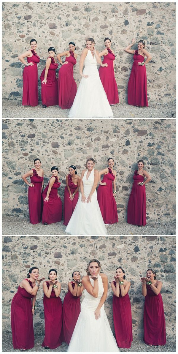 red bridesmaid dreses & fun photography © Kathryn Edwards Photography via French Wedding Style
