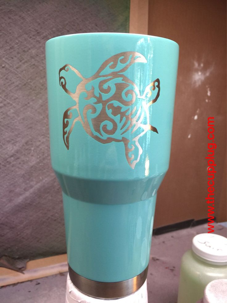 Custom Powder Coated Cups Sea Turtle By Thecupplugstore On