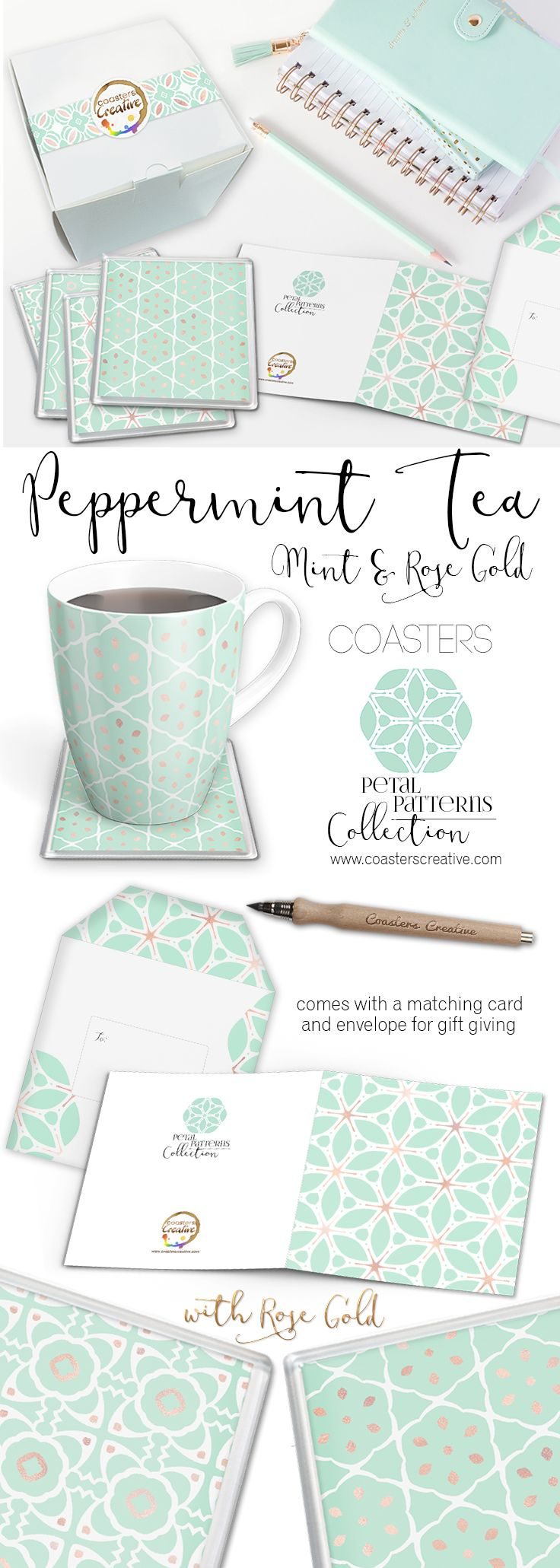 Mint Coasters - Mint Green - Mint Drinks - Peppermint Tea - Mint Coasters - Drinks Coasters | $44.00 Boxed Set of 6 with matching Card & Envelope | coasterscreative.com