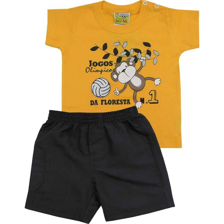 Conjunto Infantil para Menino com Bermuda Tactel Amarelo - Jaca-Lelé :: 764 Kids | Roupa bebê e infantil