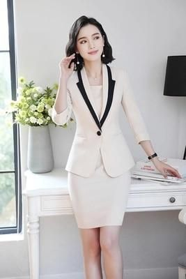 Hot Ladies Dress Suit for Work Full Sleeve Blazer Sleeveless Dress 2 Pieces Set